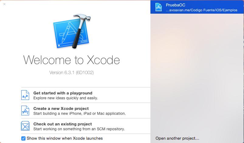 Borrar los proyectos recientemente abiertos en Xcode