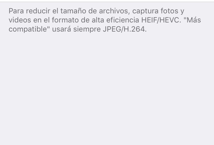 Deshabilitar formato de imágenes HEIC en iOS 11